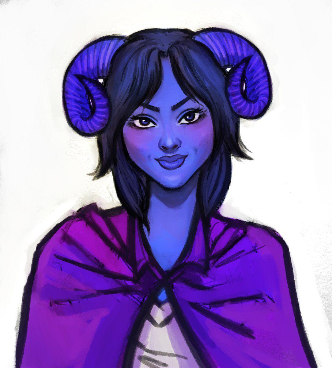A Blue Tiefling Girl With A Purple Cape Critical Role Fanart