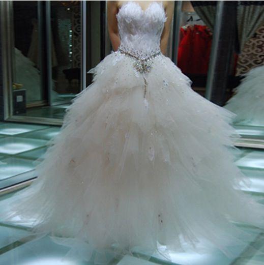 Feather Princess Wedding Dresses
