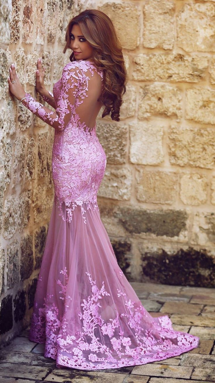 Charming appliques mermaid tulle prom dresses think print