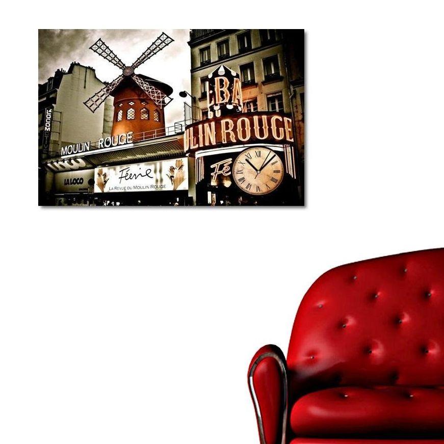 Moulin Rouge Canvas Wall Clock / Kanvas Duvar Saati http://www.tictactasarim.com/K15,modern-tablo-saatler.htm