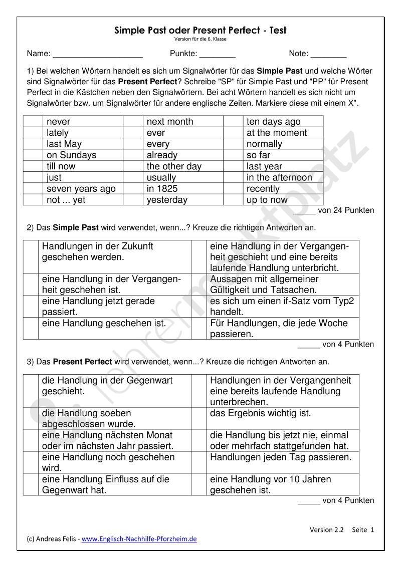 Test Zum Unterschied Von Simple Past Und Present Perfect Arbeitsblatter Mit Losungen 6 Klasse Englisch Nachhilfe Klassenarbeiten Englisch