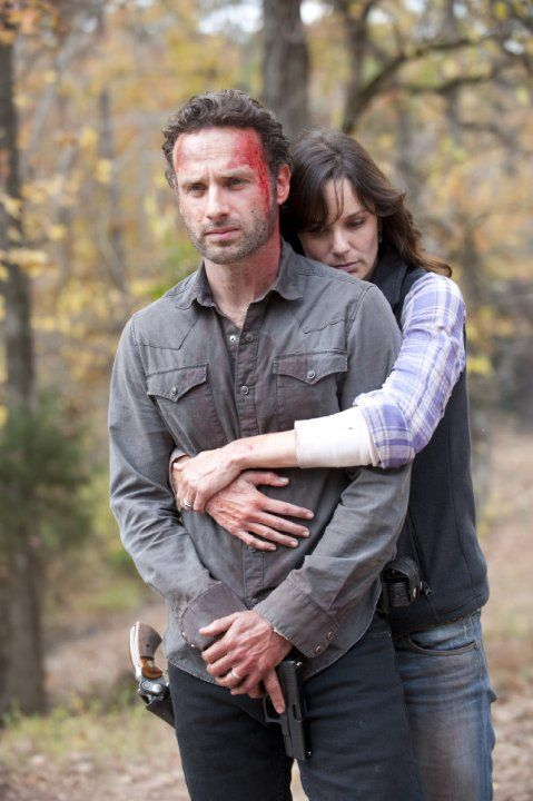 still of andrew lincoln and sarah wayne callies in the