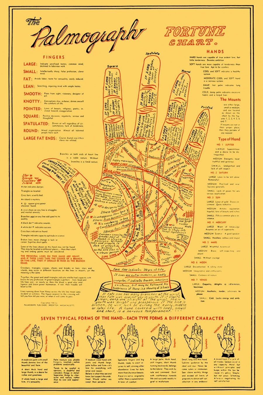 palmograph hand pulled giclee palms occult reflexology print poster poster poster [ 900 x 1350 Pixel ]