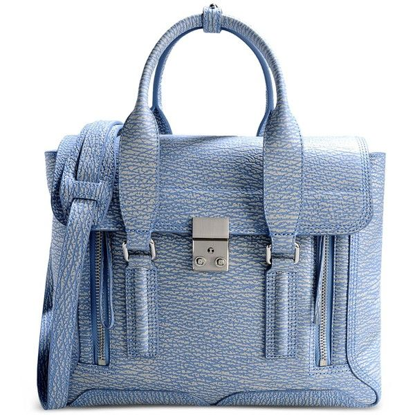 3.1 Phillip Lim Large Leather Bag ($975) ❤ liked on Polyvore featuring bags, handbags, shoulder bags, purses, sky blue, real leather handbags, blue leather purse, two tone purse, blue shoulder bag and genuine leather purse