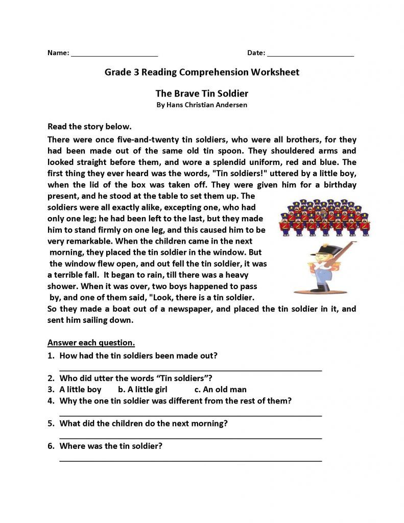 4th Grade Reading Comprehension Worksheets Pdf Free ...