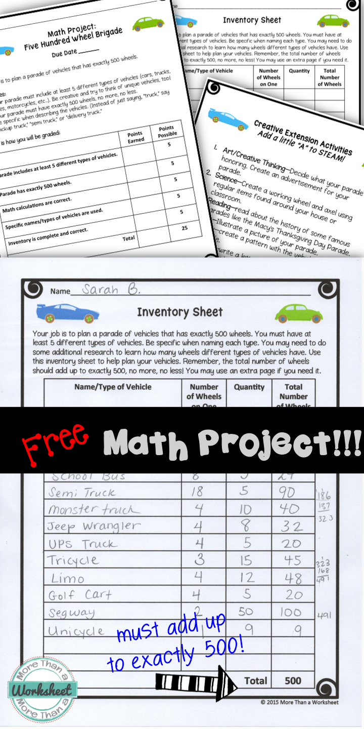 A Free Math Project For Grades 3 5 From More Than A Worksheet Students Must Plan A Car Parade That Has Exactly 500 Wheels Much H Math Projects Math Free Math [ 1440 x 720 Pixel ]