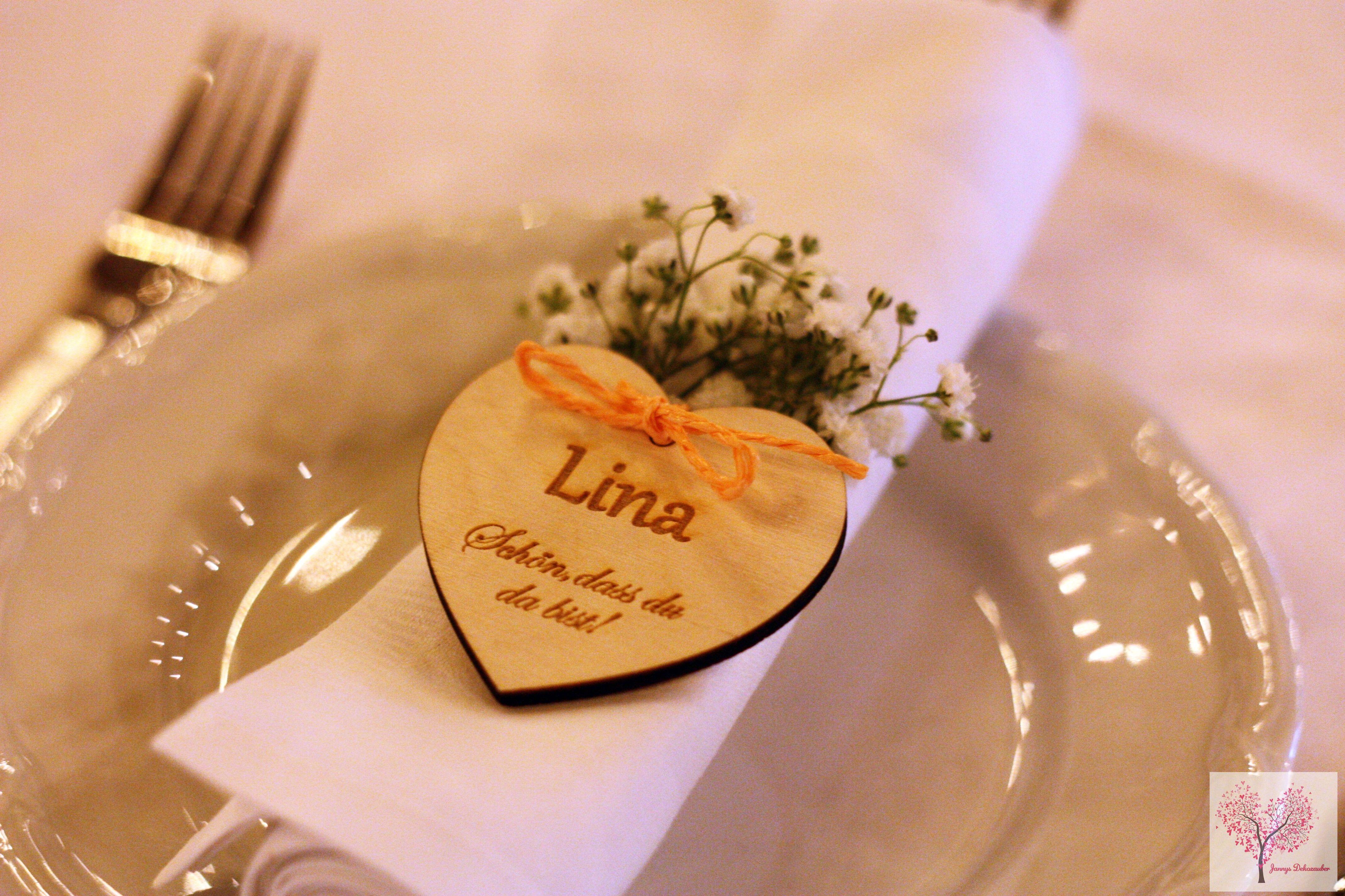 Vintage Holzherz Herz Hochzeit Hochzeitsdeko Namensschild Gastgechenk Holz Apricot Schleierkraut Serviette B Herz Hochzeit Holzhochzeit Namensschilder Hochzeit