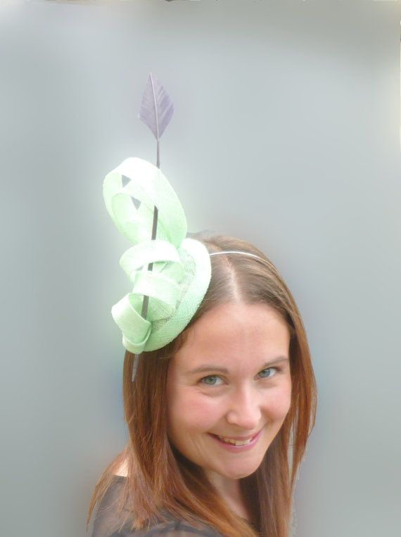 Mint Green Fascinator Cocktail Hat. Sinamay and by SophieShields