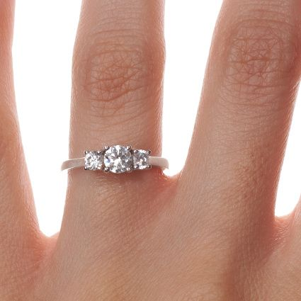 18k White Gold Petite Three Stone Trellis Diamond Ring 1 3 Ct Tw Small Engagement Rings Three Stone Engagement Rings Small Diamond Engagement Rings