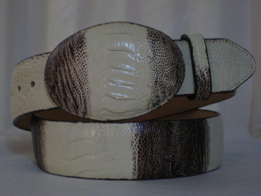 HANDMADE LOS ALTOS GENUINE WINTER WHITE BROWN OSTRICH LEG WESTERN COWBOY BELT