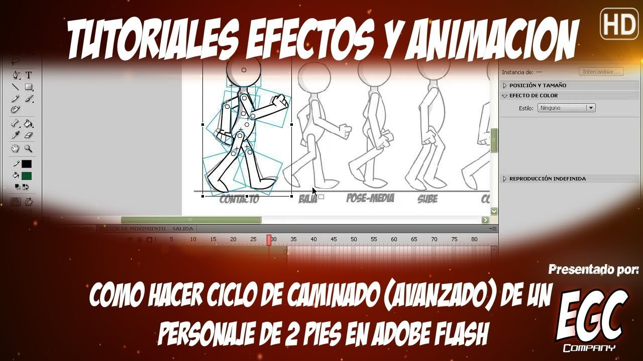 Como crear Ciclo de Caminado - Animación 2D| Tutorial Adobe Flash ...