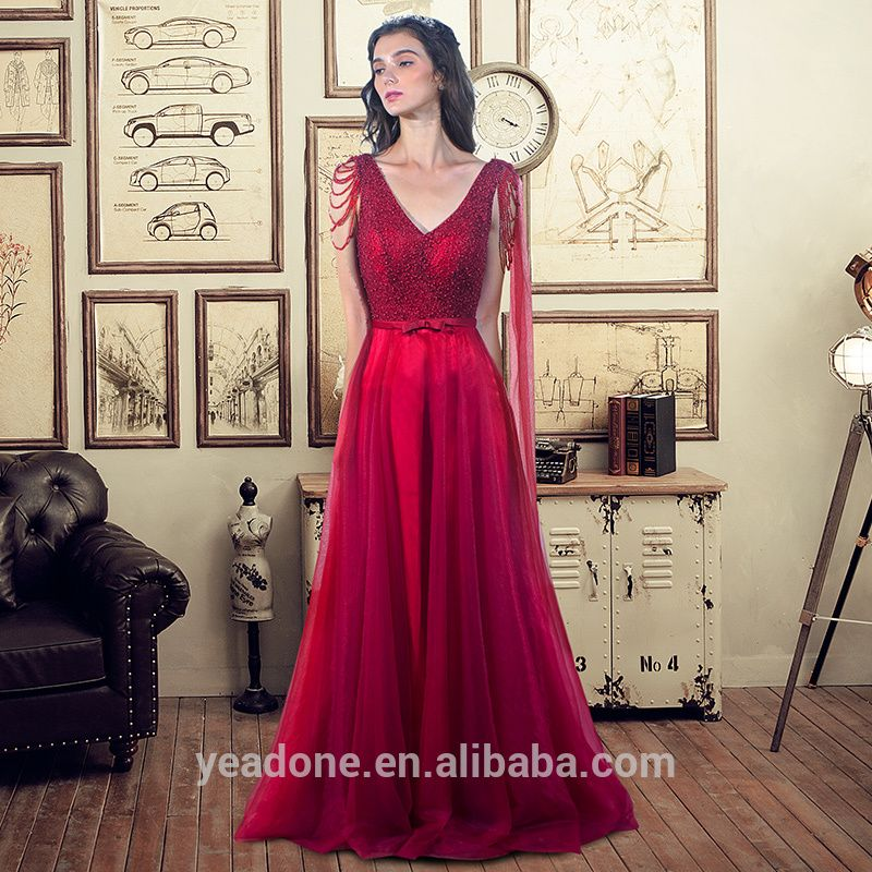 Wholesale Cheap Wine Beaded Evening Dress Formal Dresses Toast Dress ...