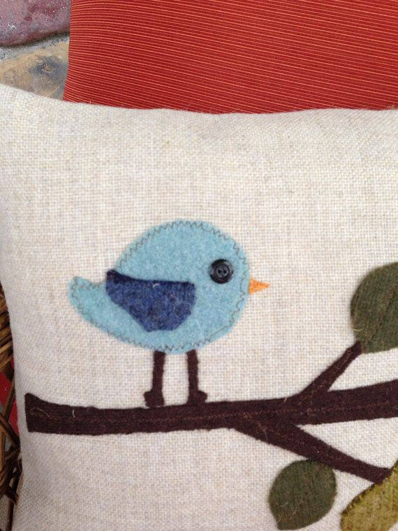 Birdie pillow by thelittlegreenbean on Etsy