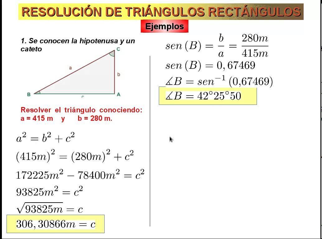 Resolucion De Triangulos Rectangulos Explicacion De Los Cuatro Casos Razones Trigonometricas Clase De Matematicas Propiedades Matematicas