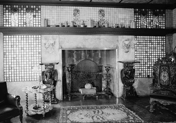 DETAIL OF FIREPLACE (WEST) END OF DINING ROOM