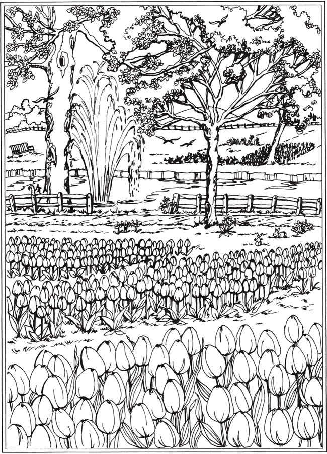 Welcome To Dover Publications Ch Spring Scenes Dover Coloring Pages Coloring Pages Garden Coloring Pages