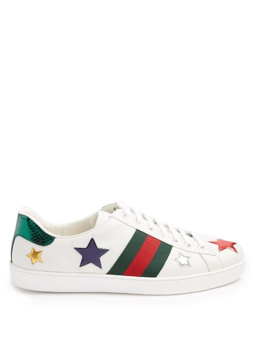 Mens Terry-Collar Leather Sneakers Gucci K7SHJ9OJD