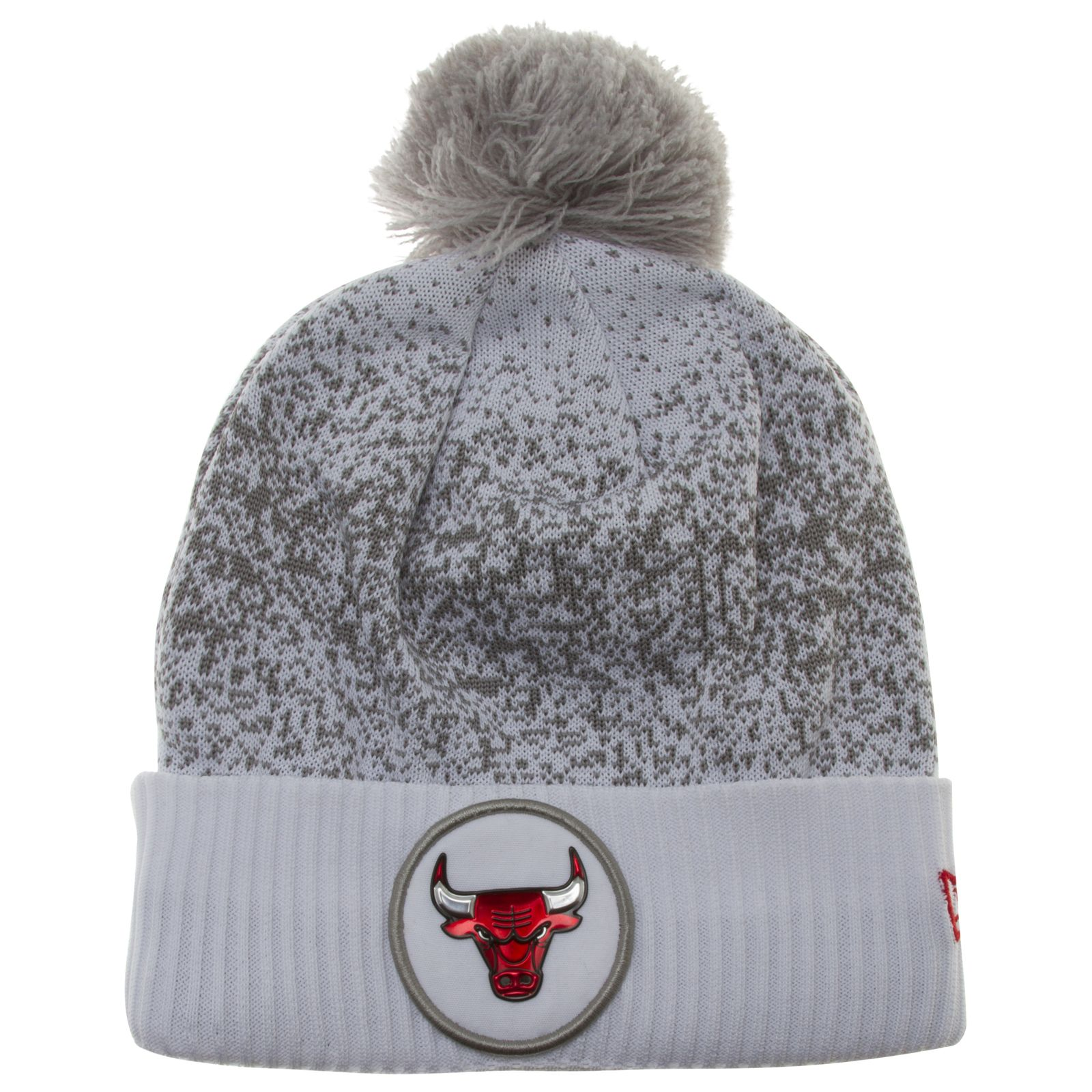 best service 4f45c f9665 Chicago Bulls White and Grey Flecked Medallion Logo Cuff Pom Knit Hat by New  Era  Chicago  Bulls  ChicagoBulls  MichaelJordan