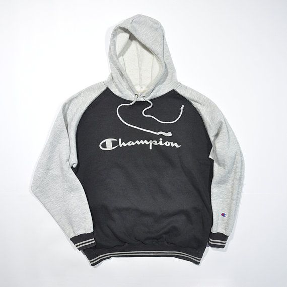CHAMPION Sweatshirt Vintage 90's Champion Big Logo Spell Out Streetwear Zipper Sweater Sweatshirt Hoodies Size L