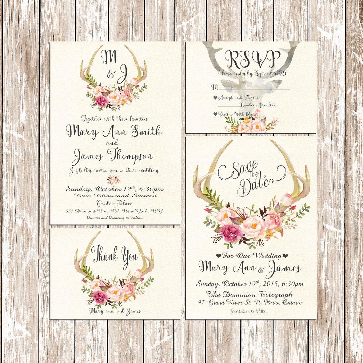 Invitation Kit Deer Antler Wedding Invitation Pink Floral Rustic Set/Suite  Save The Date RSVP