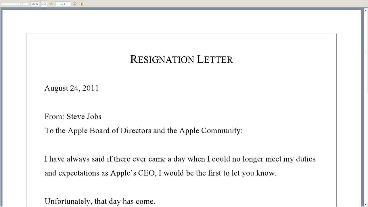 How Write Simple Resignation Cover Letter Short Notice Resigning