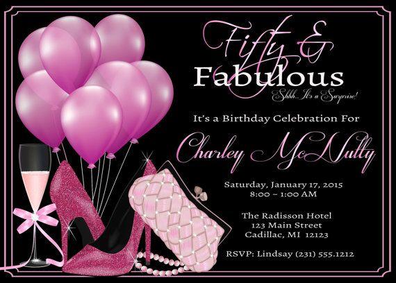 Womenu0027s 50th Birthday Invitation u2022 Adult 50th Birthday Party - birthday invitation for adults