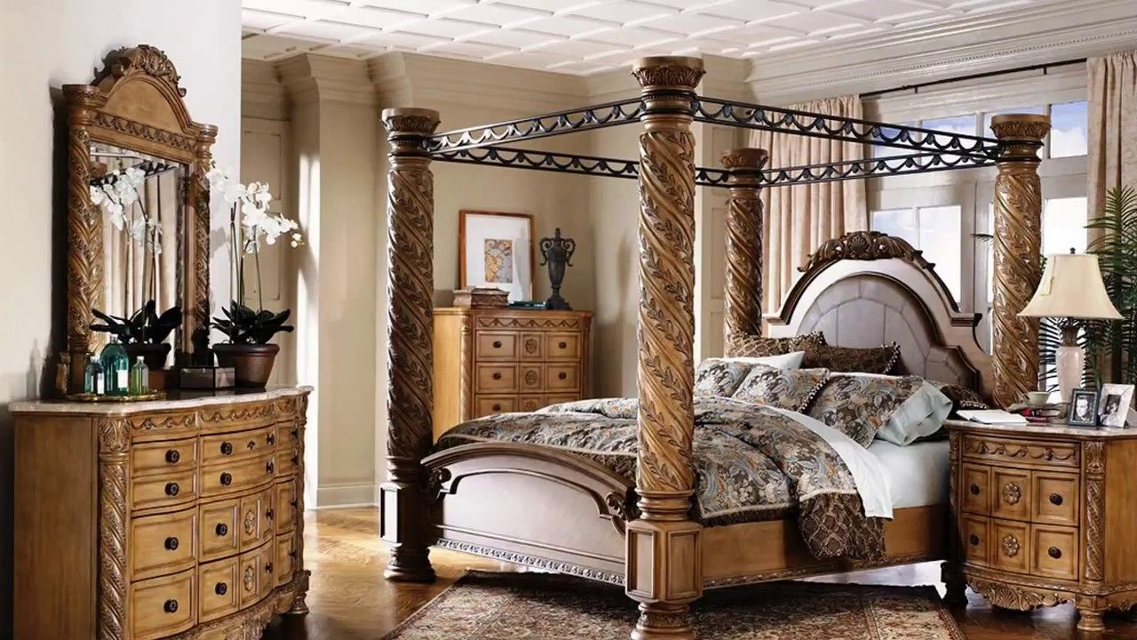 bedroom sets ashley furniture  king size canopy bed