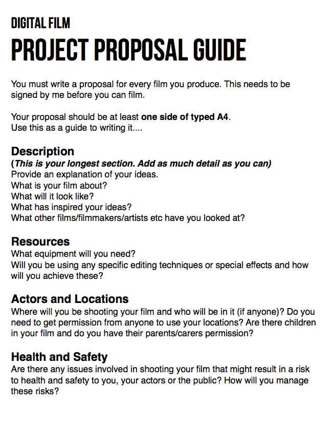 Guide For Writing Your Film Proposal C Anna Hawes Filmmaking