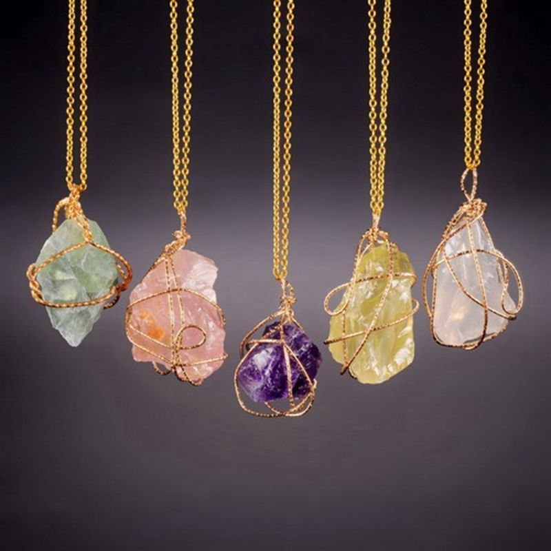 Handmade Irregular Natural Stone Amethyst Pendant Necklaces Gold