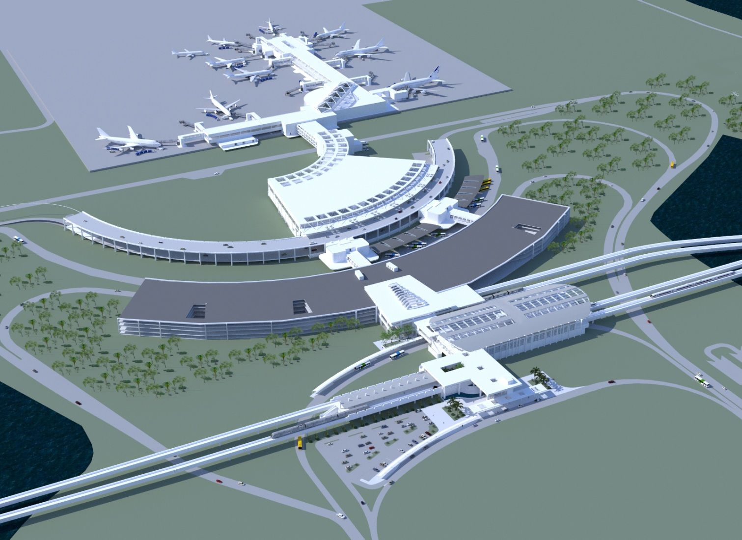Orlando International Airport Proposal Showing The Beginning Stages Of A New South Terminal Complex Muslim Prayer Prayer Room Airport Design