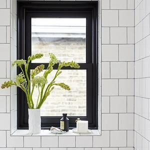 House U0026 Home   White Square Cut Bathroom Tile Laid In A Brick Pattern.  Black, Glossy Window.