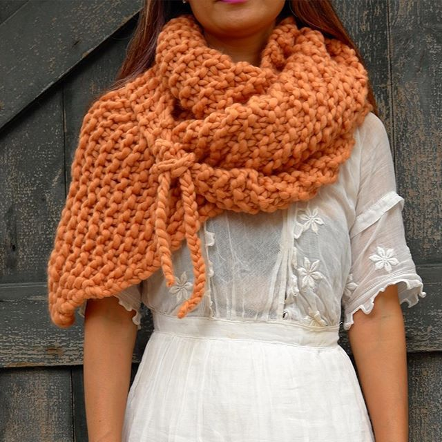 Her Shawl in Apricot - made with 3 balls of Loopy Mango
