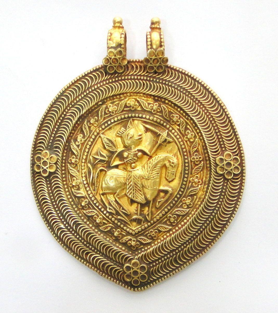 Rare Ancient Antique Collectible Solid 23k Gold Amulet Pendant Necklace India Pendant Necklace Amulet Ancient Jewelry