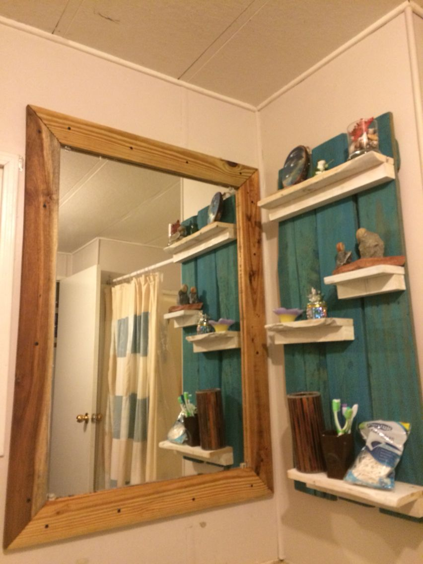 Pallet wood framed mirror. Such a beautiful addition to ...