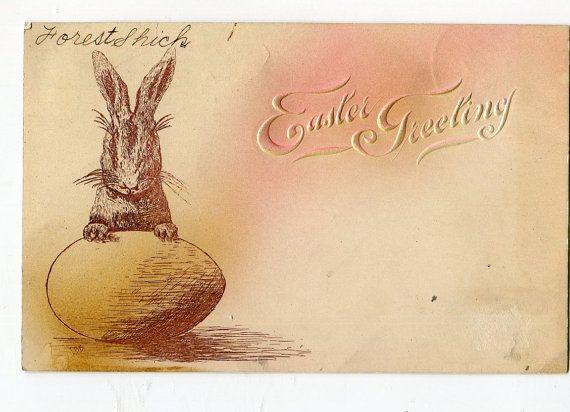 Vintage Easter Postcard  Easter Bunny by sharonfostervintage, $2.50