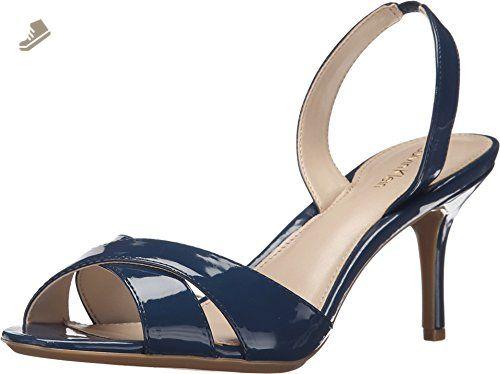 Calvin Klein Women's Lucette Navy Patent Sandal 8.5 M - Calvin klein pumps  for women (