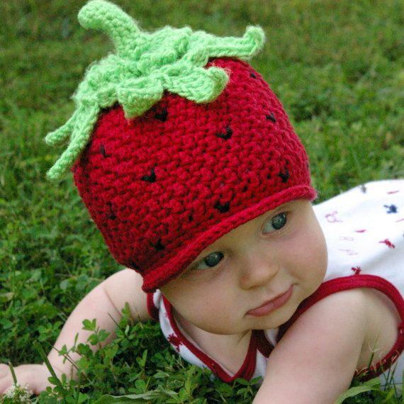 Crochet pattern strawberry beanie hat by TwoGirlsPatterns, $5.50 | A ...