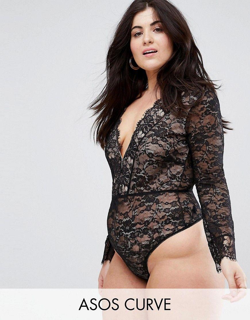 041e69a929bd ASOS CURVE Lila Eyelash Lace Plunge Body - Black | bodysuit long ...
