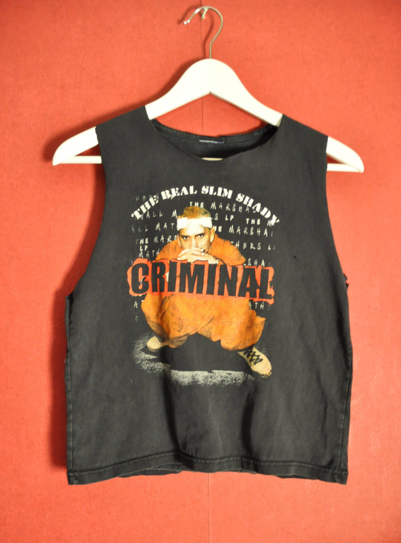 ec0cc7d77 Vintage tshirt Slim Shady black Sleeveless band tshirt Artist Slim Shady  Eminem T shirt Customized SlimFit