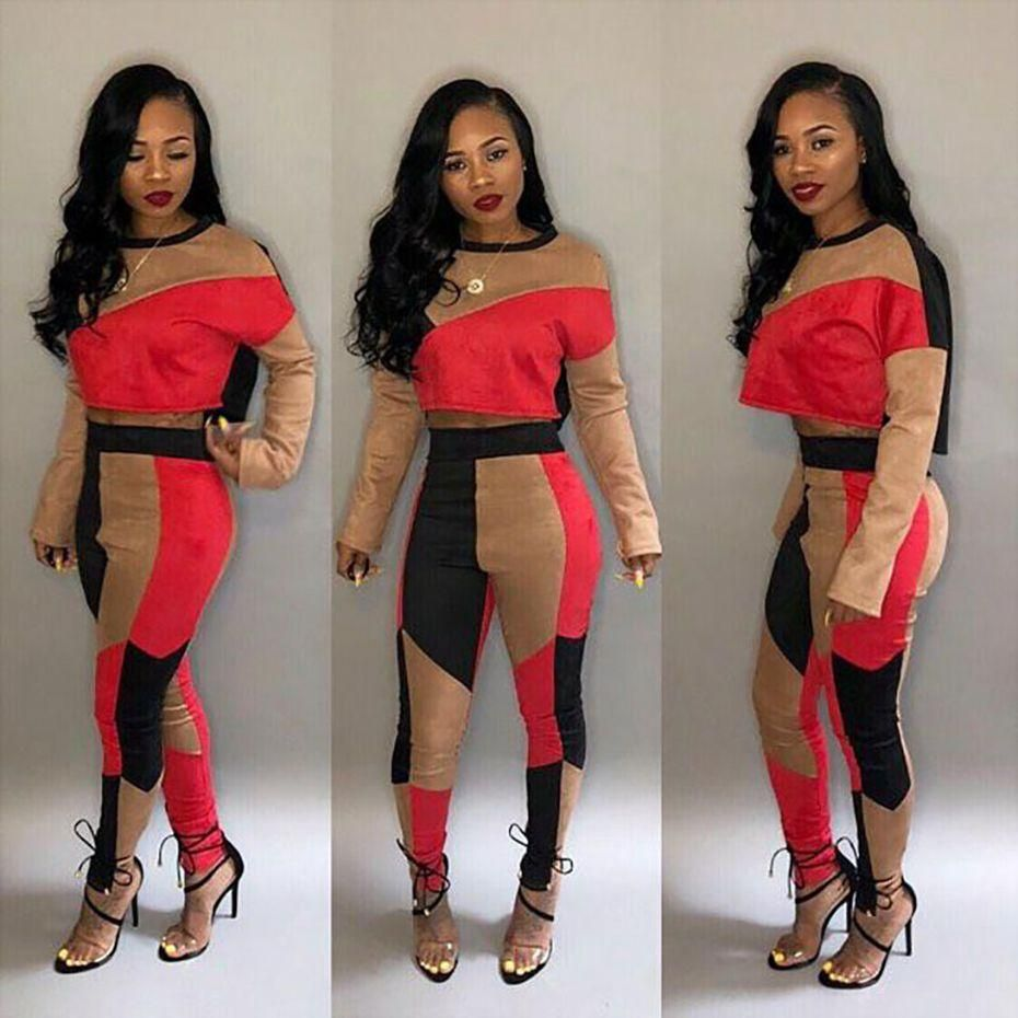 dc682d90f76 ZKYZWX 2 Piece Set Women Outfits Color Block Sexy Crop Top+Bodycon Pants  Sweat Suit Autumn Winter Matching Sets Casual Tracksuit