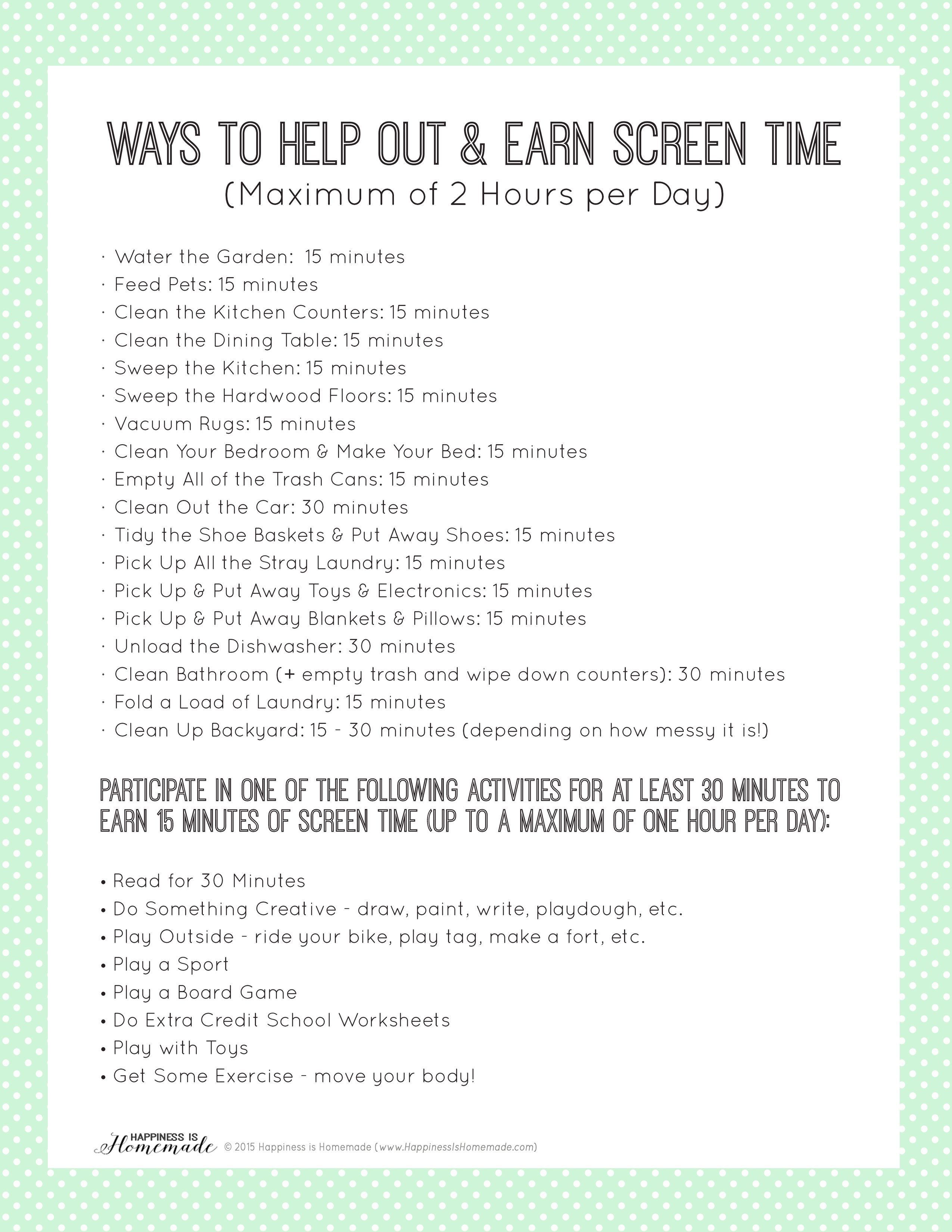 Printable Chore List To Earn Screen Time