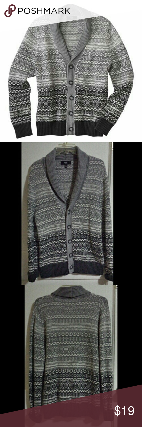 Shawl Collar Cardigan sweater Black, gray and white cardigan ...