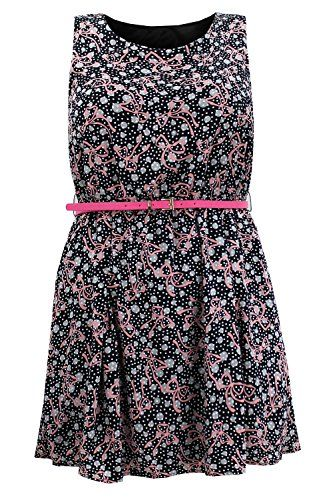 Curvylicious Women's Plus Size Sleeveless Belted Bow Print Skater Dress