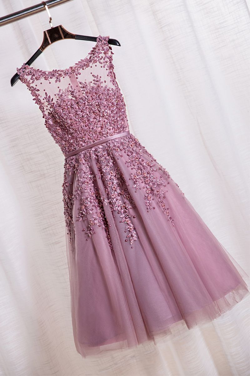 Elegant Scoop Tea Length School Homecoming Dresses Applique Pearls A Line Short  Prom Formal Evening Gowns 3b8108d9722d
