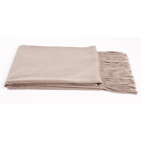 Cashmere and Merino Wool Throw Color: Sand (¥26,515) ❤ liked on Polyvore featuring accessories, scarves, merino wool scarves, fringed shawls, extra long scarves, fringe scarves and merino wool shawl