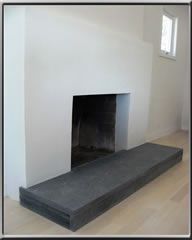 idea for your plastered fireplace- You could plaster the hearth ...