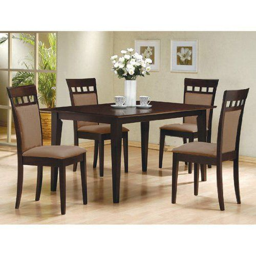 5 PC Espresso Brown 4 Person Table and Chairs Dining Dinette \u2013 Beige
