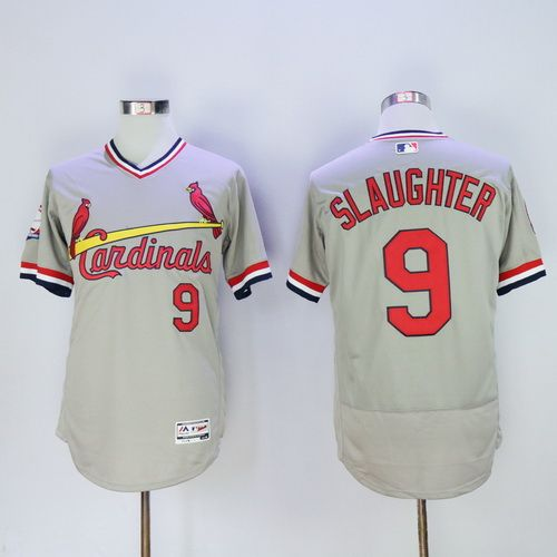 Men's St. Louis Cardinals #9 Enos Slaughter Retired Gray Pullover 2016 Flexbase Majestic Baseball Jersey