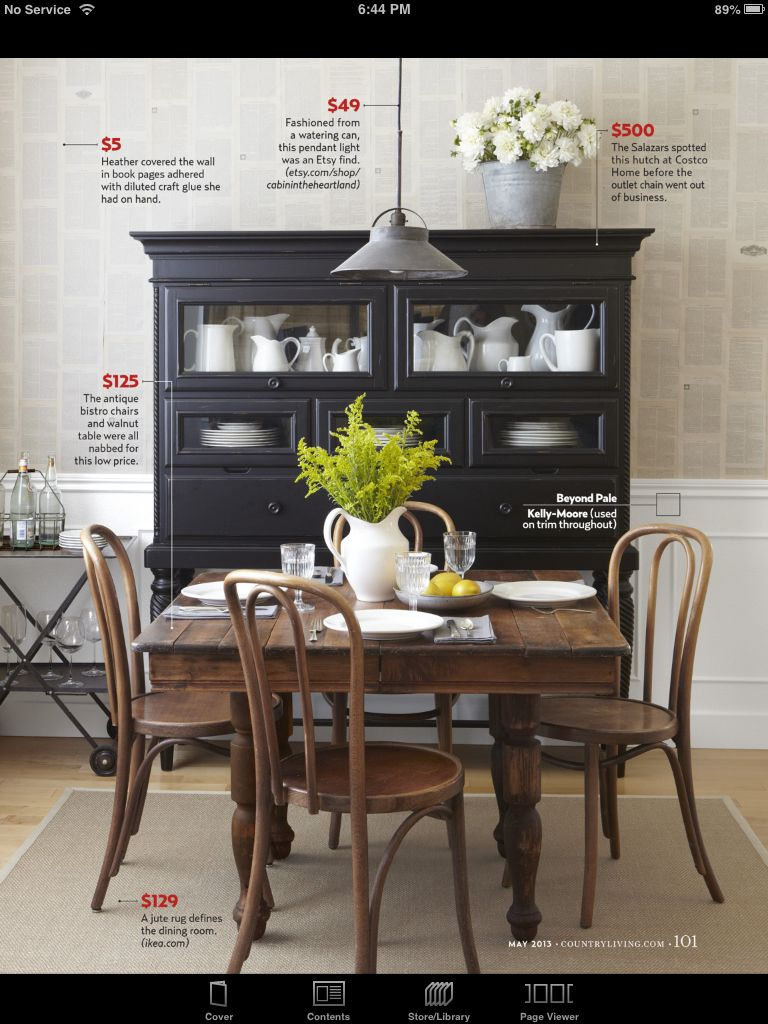 Wainscotting Love The Black Hutch With Natural Wood Table Set