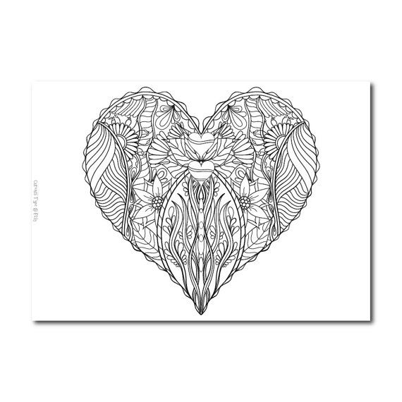 Inked Heart Colouring Page Vector PDF File. by CuriousType